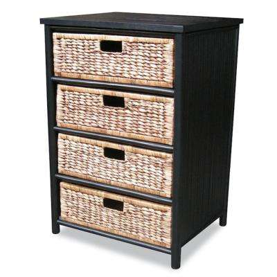Shelly Assembled 22.5 in. x 22.5 in. x 18.5 in. Black/Brown Bamboo Accent Storage Cabinet with 4 Baskets
