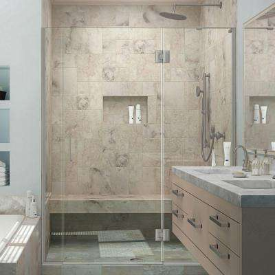 Unidoor-X 72 in. to 72-1/2 in. x 72 in. Frameless Hinged Shower Door in Brushed Nickel