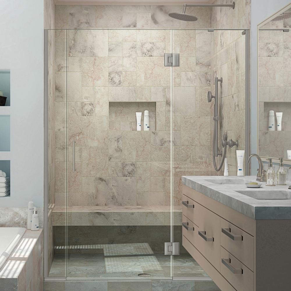 Unidoor-X 57 in. to 57-1/2 in. x 72 in. Frameless Hinged Shower Door in Brushed Nickel