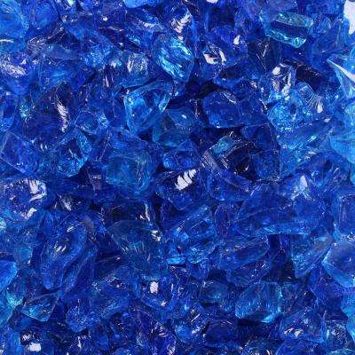 1/2 in. to 3/4 in. 10 lbs. Tropical Blue Crushed Fire Glass in Jar