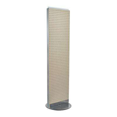 60 in. H x 16 in. W 2- Sided Styrene Pegboard Floor Display on Revolving Base in Almond