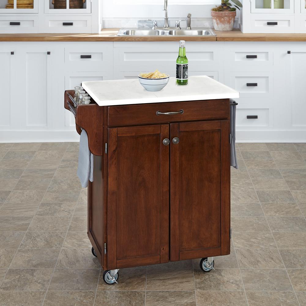 Home Styles Cuisine Cart Cherry Kitchen Cart With Quartz Top 9001-0710