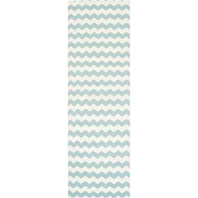 Dhurries Ivory/Blue 3 ft. x 8 ft. Runner Rug