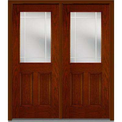 72 in. x 80 in. Prairie Internal Muntins Right-Hand Inswing 1/2-Lite Clear Stained Fiberglass Oak Prehung Front Door