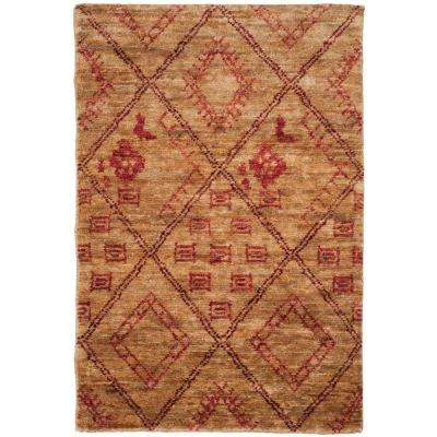 Bohemian Natural/Red 4 ft. x 6 ft. Area Rug