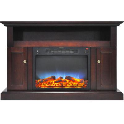 Kingsford 47 in. Electric Fireplace with Multi-Color LED Insert and Entertainment Stand in Mahogany