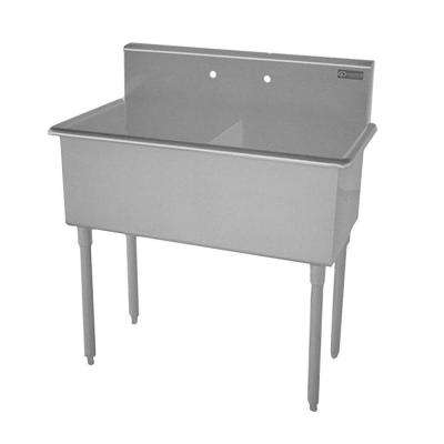 T-Series Freestanding Stainless Steel 39x21.5x42 in. 2-Hole Double Bowl Scullery Sink