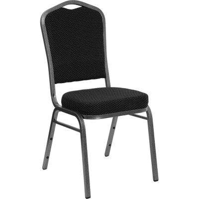 Black Dot Patterned Fabric/Silver Vein Frame Stack Chair