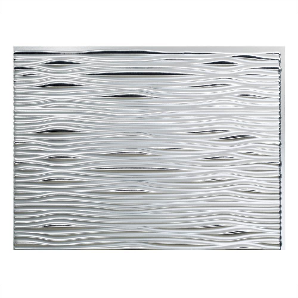 Waves 18 in. x 24 in. Brushed Aluminum Vinyl Decorative Wall Tile Backsplash 18 sq. ft. Kit
