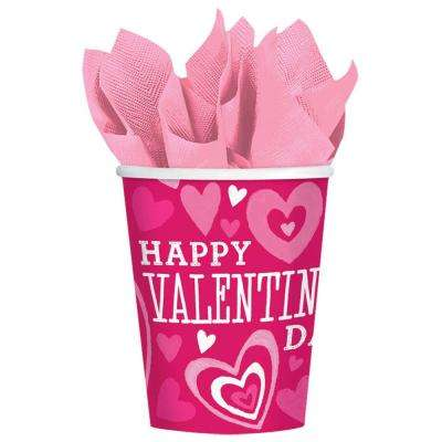 Valentine Party 3.2 in. x 3.75 in. Paper Valentine's Day 9 oz. Cup (18-Count 3-Pack)
