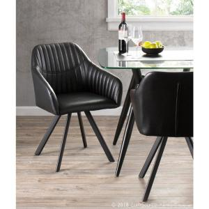 Tremendous Lumisource Clubhouse Pleated Black Faux Leather Chair Set Forskolin Free Trial Chair Design Images Forskolin Free Trialorg