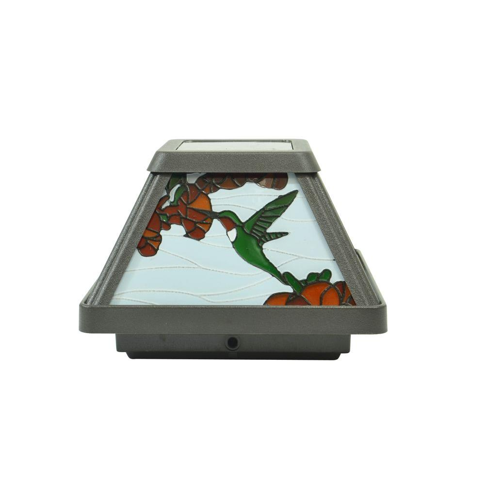 Hummingbird Stained Gl Solar Outdoor Integrated Led Post Cap Deck Light