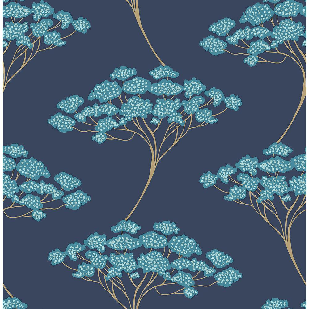 Kenneth James Banyan Navy Tree Wallpaper267122409 The Home Depot