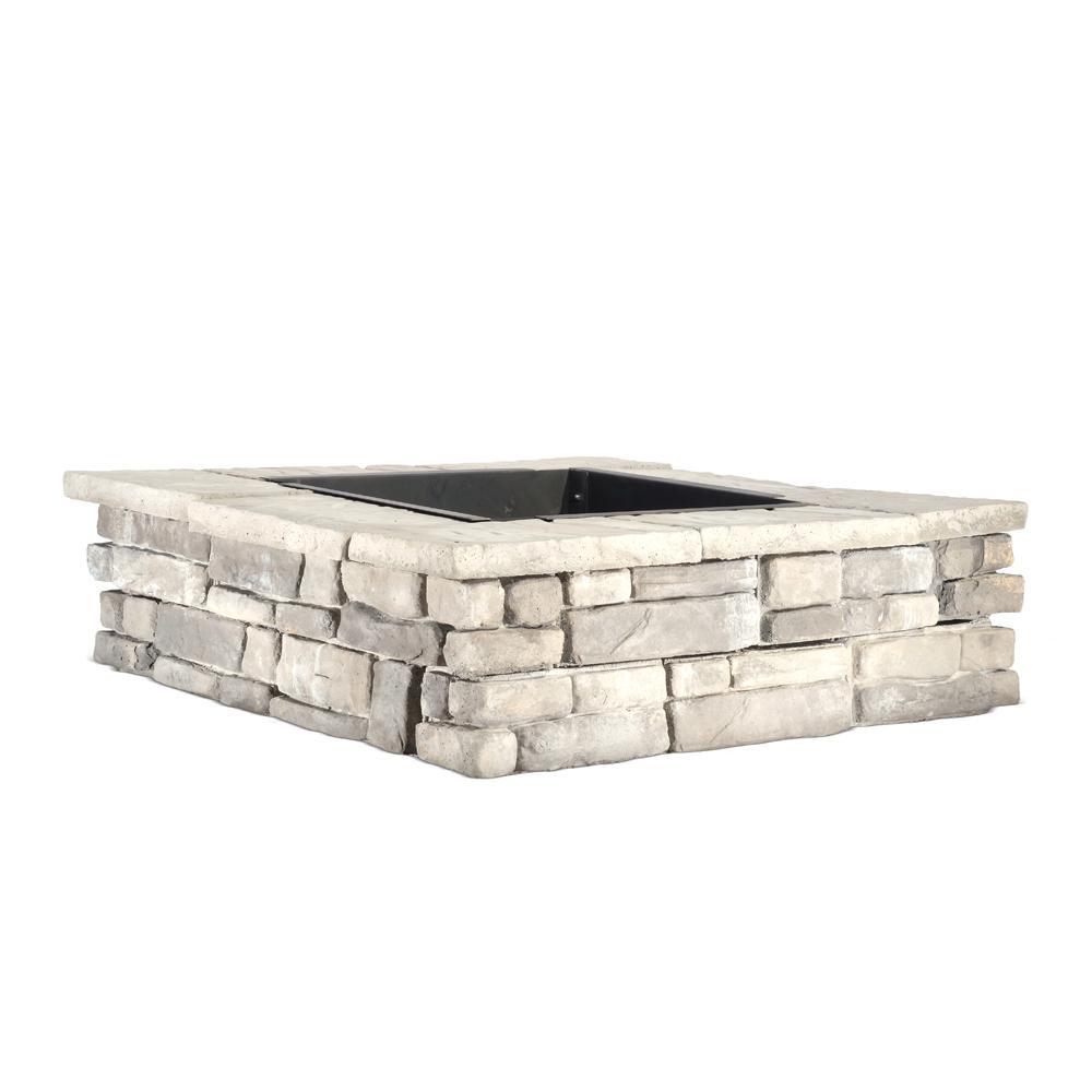 28 in. x 14 in. Steel Wood Random Stone Gray Square Fire Pit-RGSFP ...