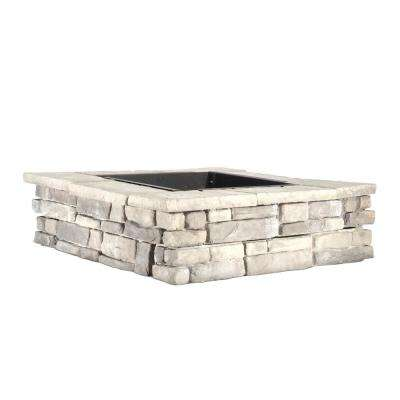 28 in. x 14 in. Steel Wood Random Stone Gray Square Fire Pit
