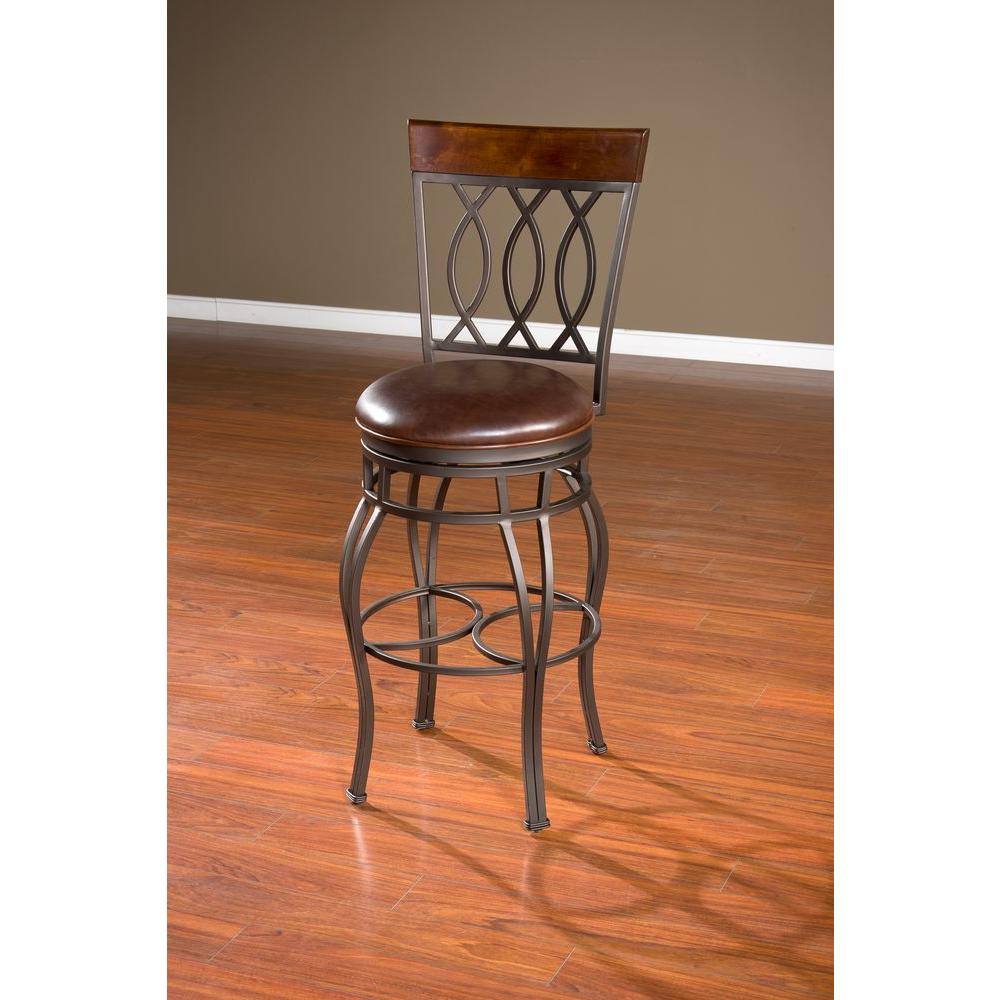 American Heritage Bella 34 in. Pepper Cushioned Bar Stool-134714PP-L32.2 - The Home Depot