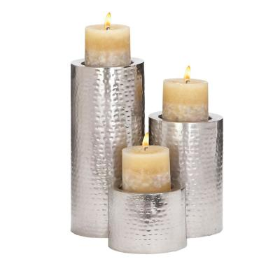 Silver Iron Hammered Texture Cylindrical Candle Holder (Set of 3)