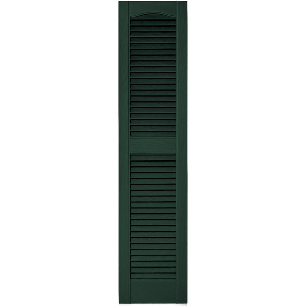 Builders Edge 12 in. x 52 in. Louvered Vinyl Exterior Shutters Pair in #122 Midnight Green