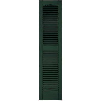 12 in. x 52 in. Louvered Vinyl Exterior Shutters Pair in #122 Midnight Green