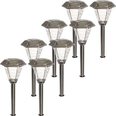 Adonis Solar Powered Integrated LED Stainless Steel Path Lights (8-Pack)