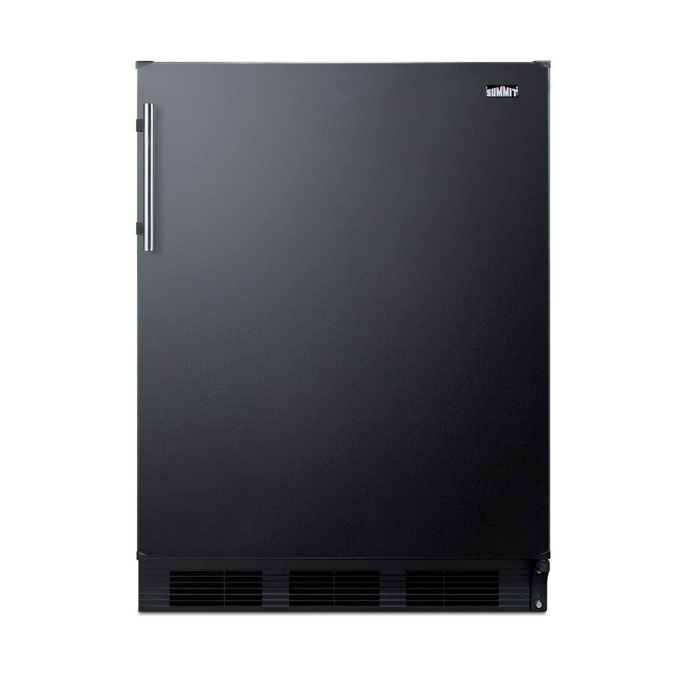 Summit Appliance 5.1 cu. ft. Mini Fridge in Black Summit brings quality and value to counter height refrigeration with a versatile selection of residential refrigerator-freezers. The CT661 Series features residential refrigerator-freezers made in Europe and designed for freestanding use in home kitchens. Sized with a 24 in. footprint, CT663B refrigerator-freezer offers a generous 5.1 cu. ft. storage capacity, a larger interior than many units in this size class. This model features a black exterior finish with a user-reversible door swing. A stainless steel handle completes the look. Inside, the CT663B features a dual evaporator to allow separated cooling of the fresh and frozen food sections. The refrigerated compartment utilizes low maintenance automatic defrost, while the interior freezer compartment is manual defrost to achieve lower storage temperatures ideal for ice cream and other frozen food. The deluxe interior includes adjustable glass shelves for spill-proof storage and easier cleaning, as well as a scalloped wine shelf to hold wine and champagne bottles safely in place. Door racks offer additional convenience for tall bottles and condiments and a clear crisper drawer ensures your produce is stored under the ideal conditions. This model includes automatic interior lighting and an adjustable dial thermostat. With its ideal dimensions and user-friendly features, the CT663B is the perfect refrigerator-freezer for any home in need of reliable cold storage in a counter height fit.