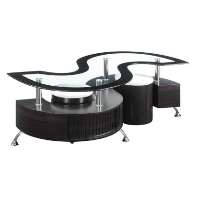 Delange Coffee Table and Upholstered Stools Cappuccino