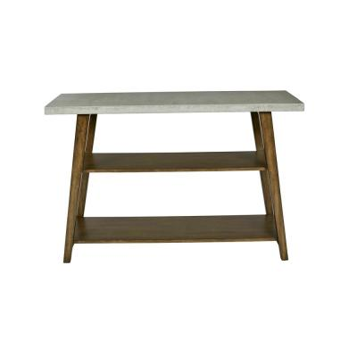 Jackson 48 in. Concrete Gray/Auburn Standard Rectangle Wood Console Table with Shelves