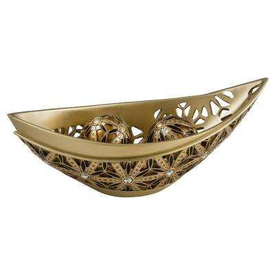 Gold Autumn Sunflower Polyresin Decorative Bowl With Spheres