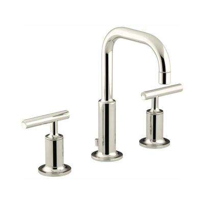 Purist 8 in. Widespread 2-Handle Low-Arc Water-Saving Bathroom Faucet in Vibrant Polished Nickel with Low Spout