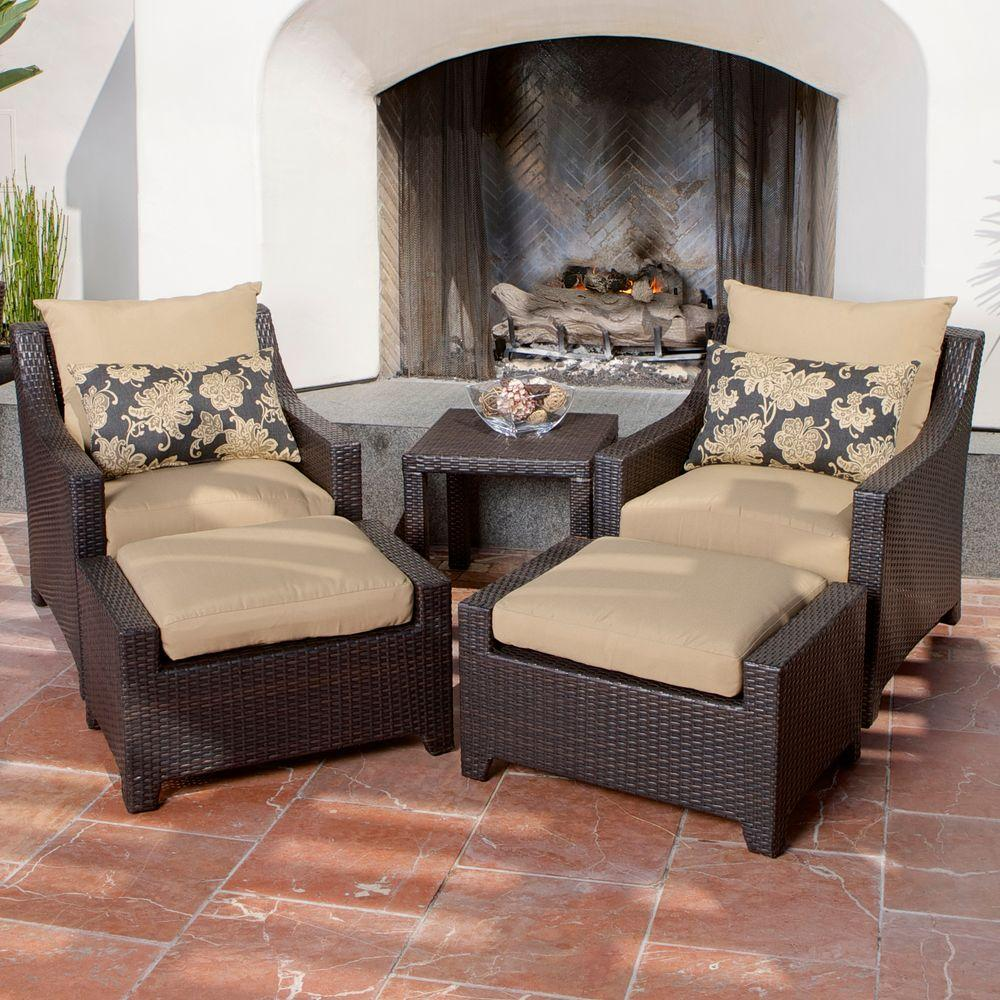 Rst Brands Deco 5 Piece Patio Chat Set With Delano Beige Cushions