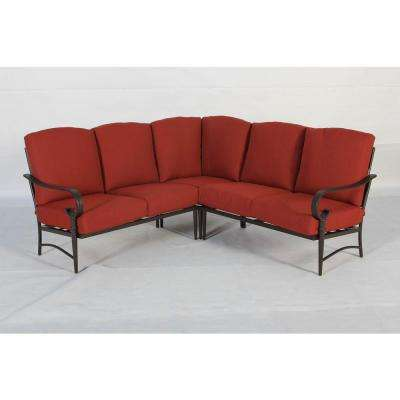 Oak Cliff 3-Piece Fully Cushioned Stamped Back Small Space Patio Sectional