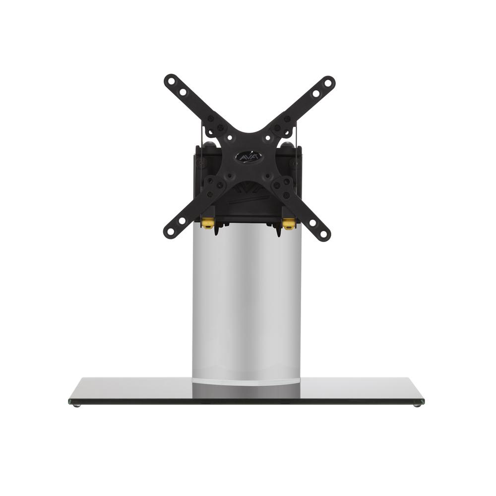 AVF Universal Table Top TV Base, Silver The AVF B200BS-A is a Universal Table Top TV Stand/TV Base for most TVs and monitors up to 32 in. It supports TVs up to 33 lbs. It is VESA compatible with mounting hole patterns of 50x50, 75x75, 100x100, 200x100 and 200x200. Universal TV Bases are perfect in situations where the original TV stand has been lost or discarded (which often happens when a TV has been wall mounted). These Universal Pedestal-Style bases are also excellent, robust replacements for the wide-spread TV feet that are provided with some TVs. In many cases, the wide-spread, duck-feet, do not allow a TV to fit safely on a TV stand or other furniture. The gloss black and silver finish complements any TV and decor.