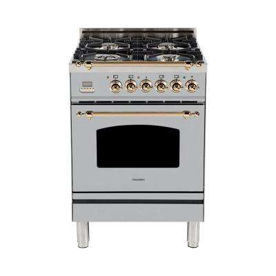 24 in. 2.4 cu. ft. Single Oven Italian Gas Range True Convection, 4 Burners, LP Gas, Bronze Trim in Stainless Steel