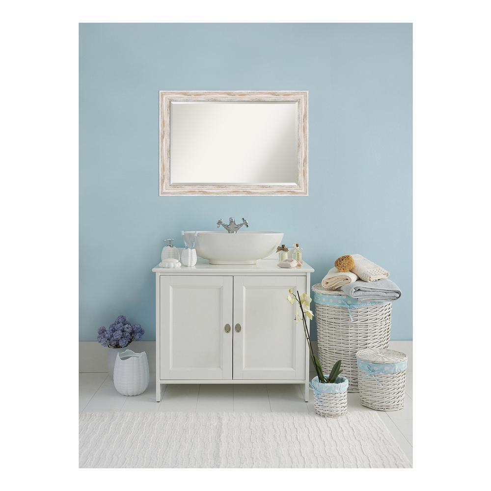 Alexandria Distressed Whitewash Wood 41 in. W x 29 in. H Single Bathroom Vanity Mirror