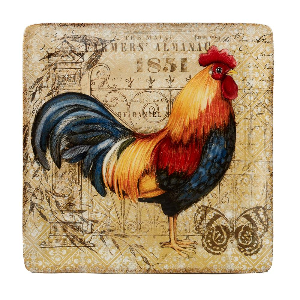 Certified International Gilded Rooster Multi-Colored 12.5 in. Ceramic Square Platter