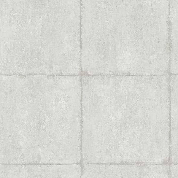 Seabrook Designs Great Wall Metallic Silver and Off-White Block Wallpaper