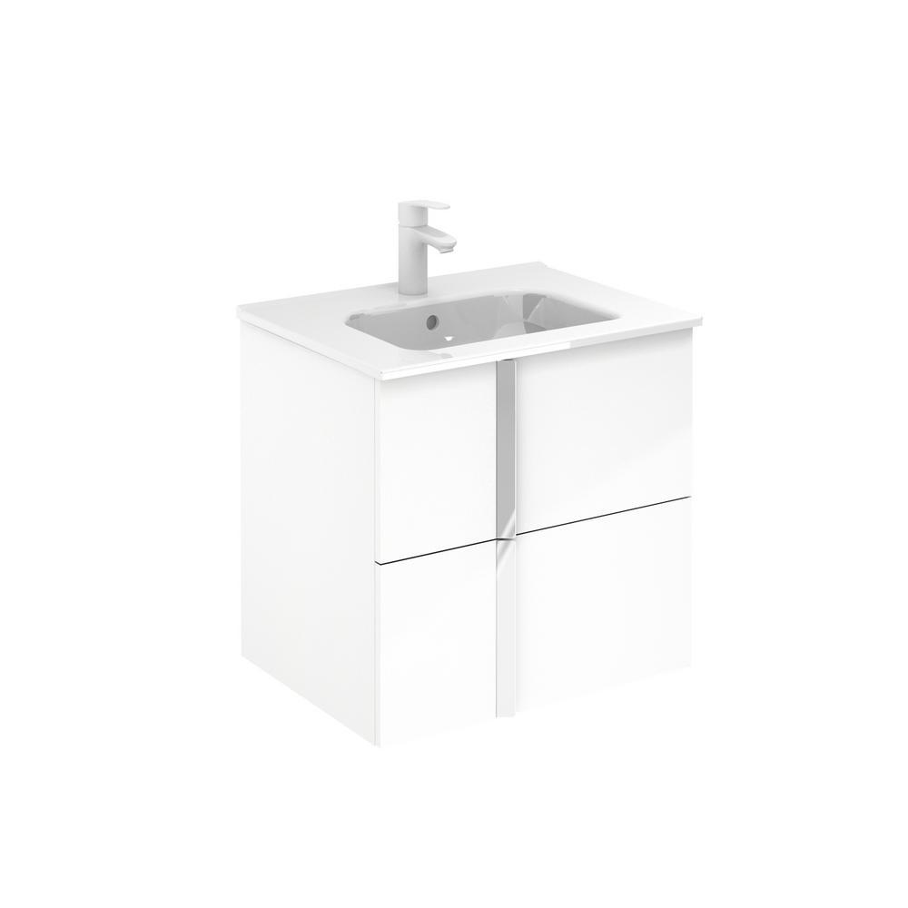 . ROYO Onix 24 in  W x 18 in  D Bath Vanity in White with Vanity Top in White  with White Basin
