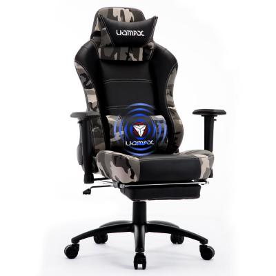 Black Reclining Camo Massage Gamer Chair for Adults, Video Game Chair , Lumbar Support and Headrest