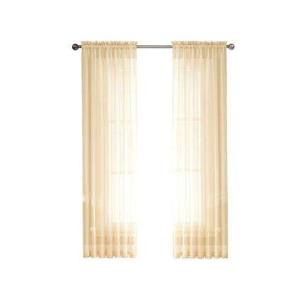 Sheer Diamond Sheer Voile Extra Wide 84 in. L Rod Pocket Curtain Panel Pair, Beige (Set of 2)