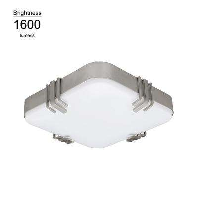 14 in. Square Mission 100 Watt Equivalent Brushed Nickel Integrated LED Flushmount