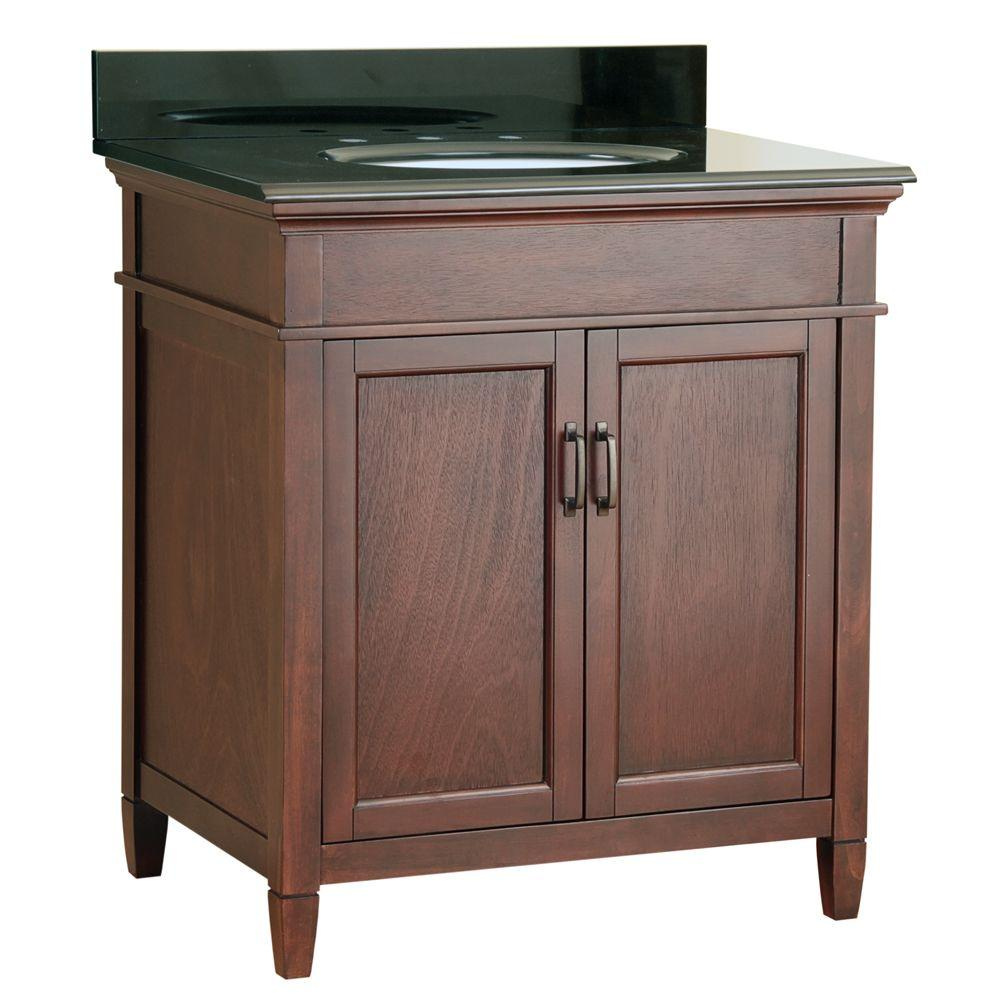 Foremost Ashburn 31 In W X 22 In D Vanity In Mahogany With Colorpoint Vanity Top In Black