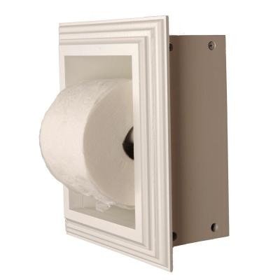 Newton Recessed Toilet Paper Holder in White with Newport Frame