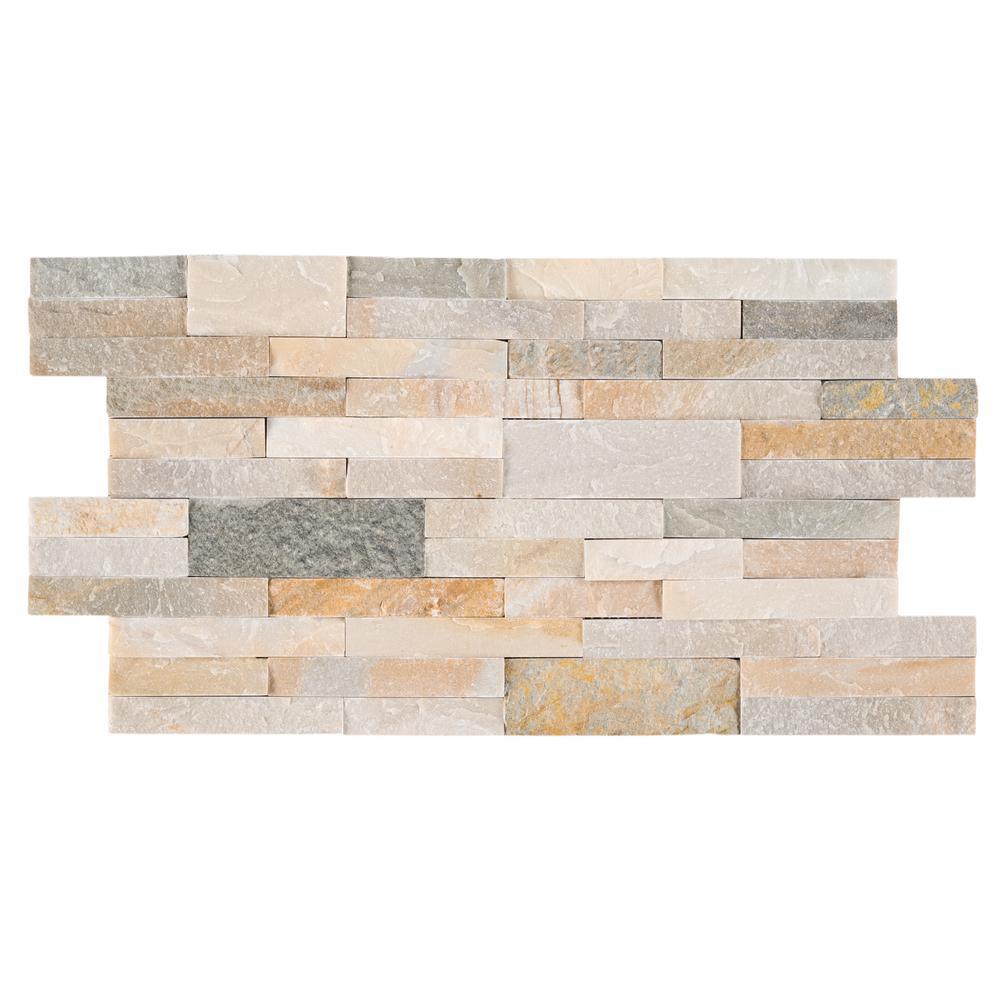 Golden Honey Veneer Peel and Stick 6 in. x 22 in. Natural Quartz Wall Tile (13.80 sq. ft. / case)