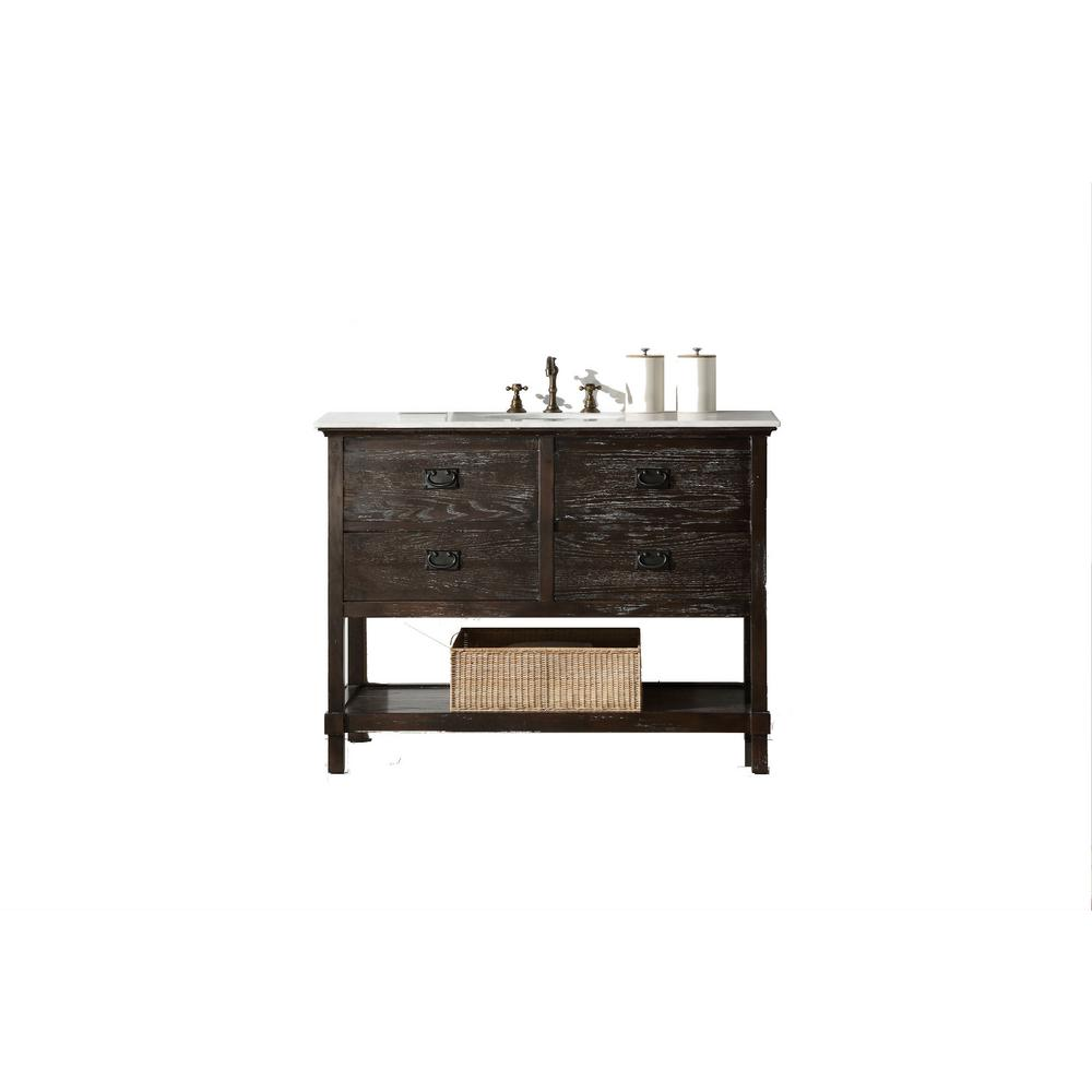 48 in. Vanity in Antique Brown with Marble Vanity Top with White Basin