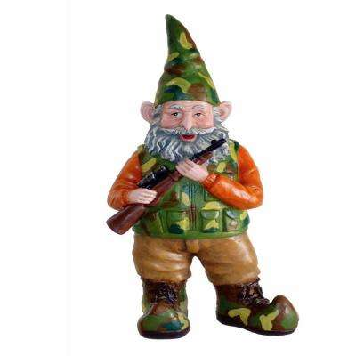 14 in. H Hunter the Gnome Garden Gnome Hunter Hunting Rifle in Camouflage Figurine Statue