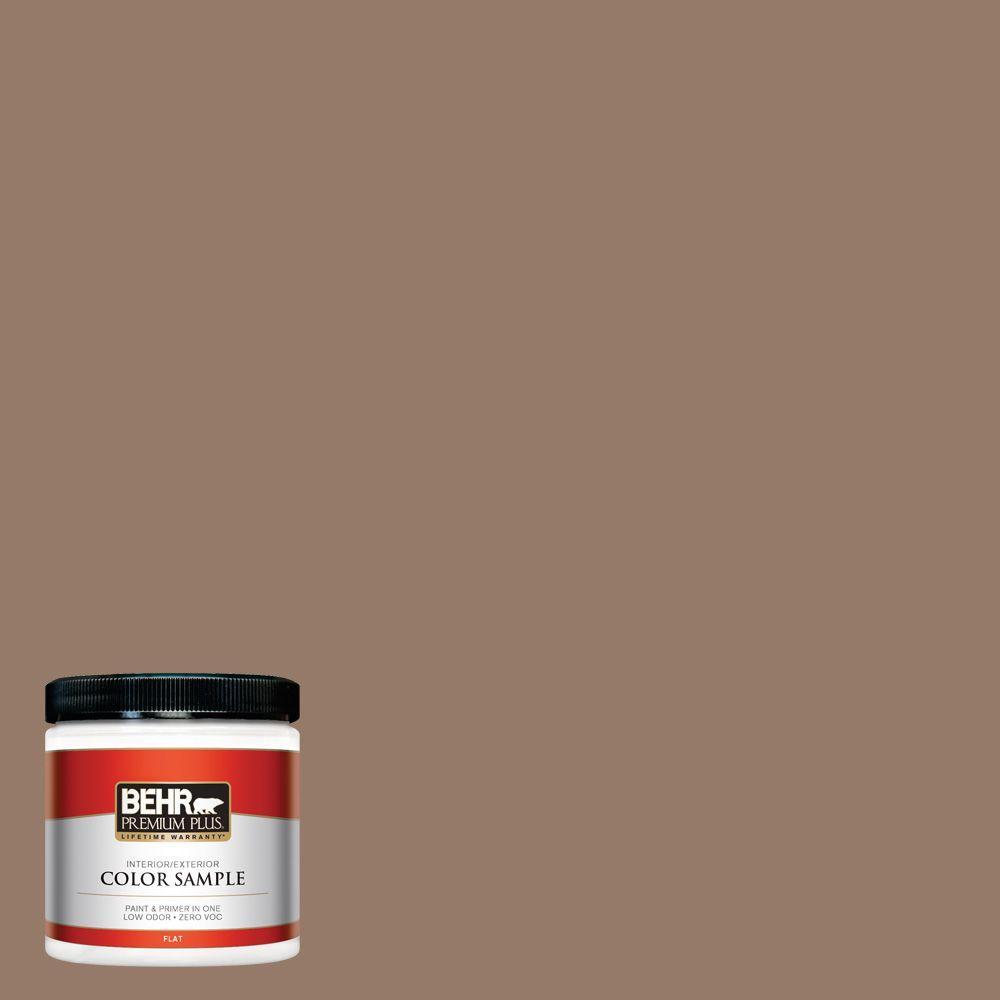 BEHR Premium Plus 8 oz. #BXC-73 True Walnut Flat Interior/Exterior Paint and Primer in One Sample