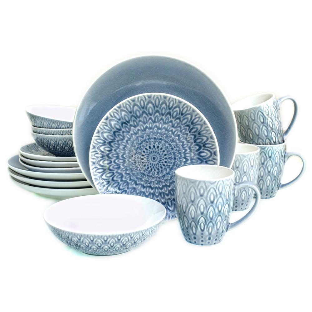 Euro Ceramica Peacock 16 Piece Grey Crackle-glaze Dinnerware Set PK-18505GRY