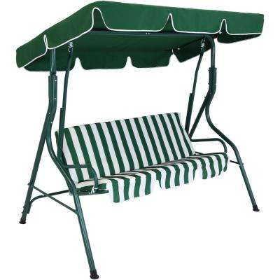 3-Person Green Steel Porch Swing with Green Striped Cushions