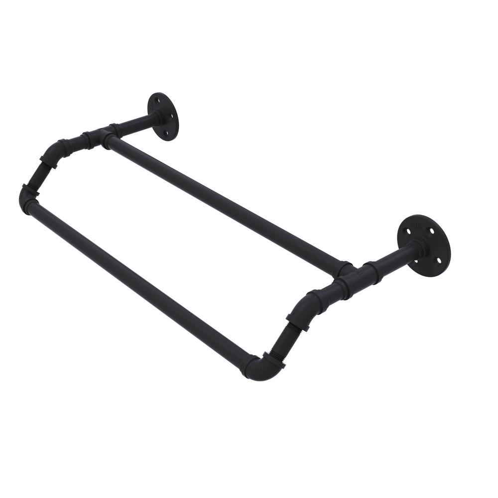 Pipeline Collection 24 in. Double Towel Bar in Matte Black