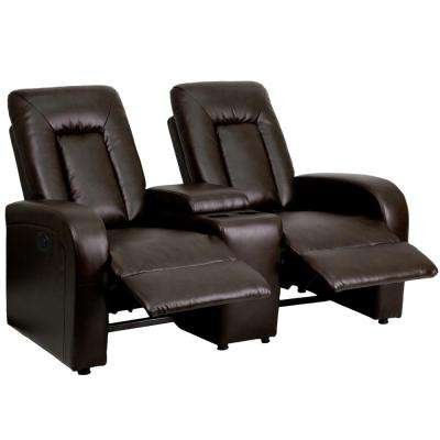 Eclipse Series 2-Seat Motorized, Push Button and Automated Reclining Brown Leather Theater Seating Unit with Cup Holders